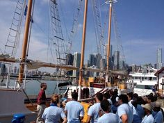 Our crew teaching line handling to volunteers for Tall Ships Chicago 2013.
