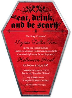Eat, drink, and be scary! A premium invitation for your next Halloween party