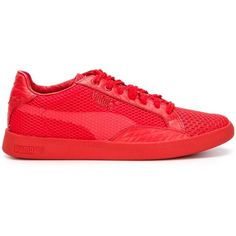 Puma Solange Match Sneakers ($110) ❤ liked on Polyvore featuring shoes, sneakers, red, leather shoes, leather sneakers, red sneakers, genuine leather shoes and leather trainers