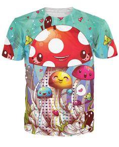 Mushroom Fantastic T-Shirt Cute Vibrant tees Women Men Print Tops Summer  Style Fashion Clothing t shirt Outfits 92001b1bf
