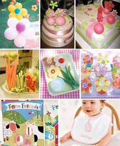 first year baby birthday :: Cakes by Tatiana :: flower-power ballons and favors by martha stewart :: food presentation