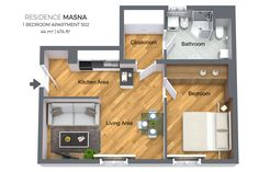 Floorplan of a one bedroom apartment No. 502 in Residence Masna