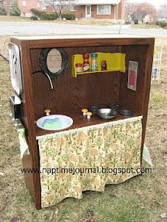 Bookcase Play Kitchen. Love all thrift store ideas
