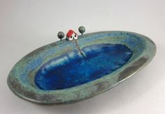 Lakeside Cottage...Keepsake Bowl in Stoneware by elukka on Etsy