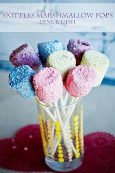 Simple Treats {Skittles Marshmallow Pops} - dineanddish.net