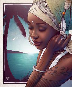 Artwork by Kyro Ink – Black Magic Black Love Art, Black Girl Art, Art Girl, Afrique Art, Foto Poster, Arte Tribal, Natural Hair Art, Caribbean Art, Black Art Pictures