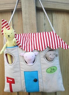 Be a great diaper bag!! Children's Peek-A-Boo Animal House Bag and Softies - Sew and Sell