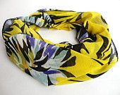 spring celebration ,yellow fashion scarf ,infinity scarf ,colorful chiffon scarf for her ,colorful floral scarf