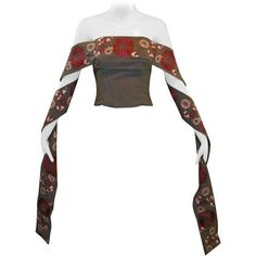 """Preowned Alexander Mcqueen S/s 2001 """"voss"""" Japanese Embroidered... ($14,999) ❤ liked on Polyvore featuring tops, multiple, embroidery top, alexander mcqueen, crop bustier, white bustier and white crop top"""