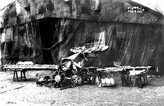 Remains of von Richthofen's triplane on display, April 22, 1918