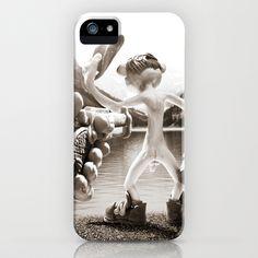 Naked Cowboy (sepia) iPhone & iPod Case by Martin Misik - $35.00 //  #iphone #mobile #phone #case #art #sculpting #clay #cowboy #naked #gun #revolver #gun #society6 #lake #alcohol #bottle #fun #humor #landscape #handmade #sculpey #sepia