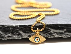 Evil Eye Necklace Delicate Gold Necklace Mini by amyfinedesign