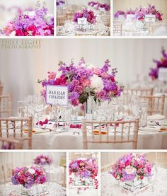 Wedding table flowers Pantone Colour of the Year: Radiant Orchid | Wedding inspiration. Photo by First Light Photography #coloroftheyear