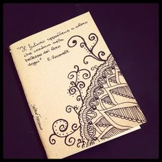 Illustrated notebook cover, zentangle design. Diy notebook A6 on recycled paper. Zenflower #07