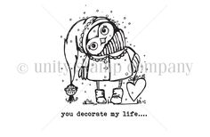 """Owl measures approximately 2.25"""" x 2.75"""".  """"you decorate my life"""" sentiment measures approximately .25"""" x 2.25""""."""