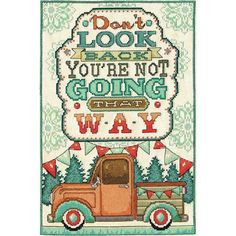 """Don't Look Back Counted Cross Stitch Kit-8""""X12"""" 14 Count"""