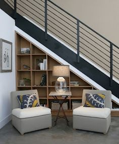 Shelving under stairs design
