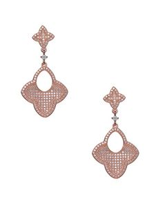 Rose Gold Double Quatrefoil Drop Earrings by Genevive Jewelry at Gilt...i'd take this over flowers anyday