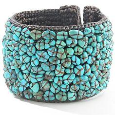 Sally C Treasures Turquoise Chip Cuff Bracelet at HSN.com.  #HSN #FallFashion