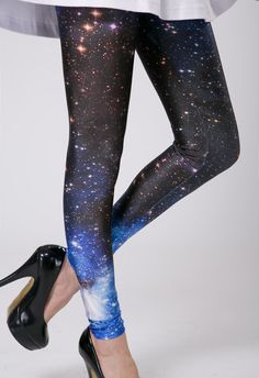 -Stellar stretch leggings featuring actual galaxy print. Stretch panel at waist, unlined. Perfect paired with a loose top and lucite shades....