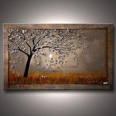 Arbre argent peinture paysage contemporain peinture 40 « x 30 » acrylique de Texture lourde par Osnat - sur commande