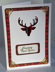 Scottish best wishes card tartan card golden and blue tartan stag scottish happy new year card tartan card red tartan stag head celtic corners scottish style handmade greeting card scotland m4hsunfo
