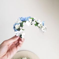 A custom artificial half flower crown with a splash of blue hydrangeas for Annabel //  x x