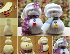 muñecos de nieve faciles de hacer con calcetines desparejados