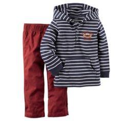 Carter's Toddler Boy Stripe Henley Hoodie & Canvas Pants Set