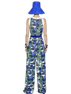 DSQUARED2 - FEATHER PRINTED CREPE & JERSEY JUMPSUIT - LUISAVIAROMA - LUXURY SHOPPING WORLDWIDE SHIPPING - FLORENCE