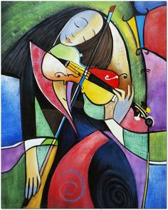 The Fiddler - Original Hand Painted Cubist Musician Violin Oil Painting On Canvas CERTIFICATE INCLUDED