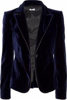 MIU MIU Leather-trimmed Velvet Blazer