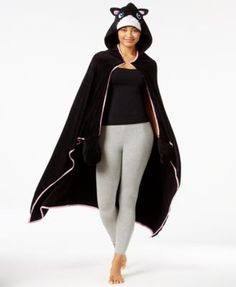 PJ Couture Hooded Lounge Poncho with Mittens