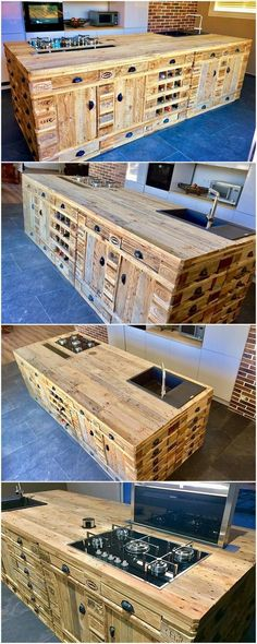 Recycled Wood Pallets Made Kitchen Island: Do you have a kitchen island in your house? If so not, then what are you waiting for! Renovating the house with the unique furniture pieces. Wood Bedroom Furniture, Diy Pallet Furniture, Diy Pallet Projects, Pallet Ideas, Wood Projects, Cheap Furniture, Wooden Furniture, Kitchen Furniture, Unique Furniture