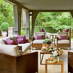 Covered patio...this is what I'm talking about...furniture for you!
