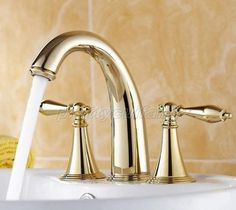 Gold Color Brass Double Handle Widespread Roman Bathroom Bath Tub Faucet Pnf237 #DLL