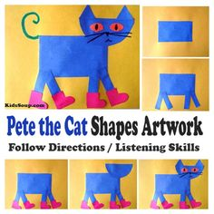 Preschool and Kindergarten Shapes Lessons, Activities, and Crafts Kindergarten Art, Preschool Crafts, Preschool Bulletin, Pete The Cat Art, Pete The Cat Shoes, Cat Activity, Beginning Of School, Middle School, Back To School Art