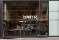 Built by DO-Architecture in Glasgow, United Kingdom with date Images by John Wood Photowork . Laboratorio Espresso is a small Milanese streetside cafe, located within the commercial centre of Glasgow. Restaurant Design, Restaurant Bar, Glasgow, Café Bistro, Shop Facade, Coffee Shop Design, Cafe Shop, Shop Fronts, Coffee Cafe
