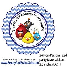 Set of 24 Angry Bird Non-personalized Treat Tag Bag Stickers- Birthday Favor Stickers-labels Gift Goody Treat Bag-custom Treat Tags Party Favors BeautyAndBrainsGirls http://www.amazon.com/dp/B01621E65A/ref=cm_sw_r_pi_dp_dyogwb1BF57JP