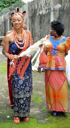 Benin brides wear a distinct elaborate coral crown and accessories.