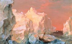 Icebergs and Wreck in Sunset by Frederic Edwin Church (American 1826-1900)