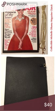 """Michelle Obama Magazine Clutch 👛 Magazine style clutch with an added chain to convert as a shoulder strap purse. 12-5/8"""" x 9"""".  Clutch comes with a purse cover as an added bonus. This is a collectors item for sure. Only a few left in stock. PRICE IS FIRM. Bags Clutches & Wristlets"""