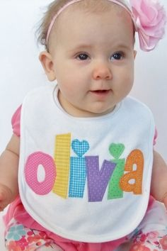 Personalized Bib Appliqued in your choice of colors for baby by Tried and True Designs on Etsy. $14.00, via Etsy.
