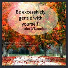 Be excessively gentle with yourself. Find more inspirational quotes at: https://www.facebook.com/LifesNextChapterCoaching Follow my blog on: http://lifesnextchaptercoaching.com/blog/