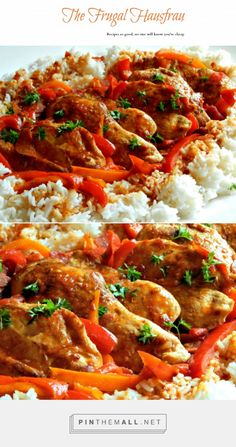 Poulet Basquaise – Basque Chicken over Rice - Chicken and sausage with a sauce of wine, peppers and garlic! It tastes so gourmet it's hard to believe this is fast enough for a weeknight! This is a most requested recipe of my family! Try it with Quinoa or brown rice for a healthier side. http://frugalhausfrau.com/2012/10/13/poulet-basquaise-basque-chicken/