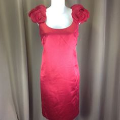 """Ann Taylor cocktail/party dress Beautiful semi-formal dress with great shoulder detail. Fully lined sleeveless dress has side zip and back kick pleat. Measures approx 38"""" from shoulder to hem. Never worn, has all tags.  Fabric has nice luster. Ann Taylor Dresses"""