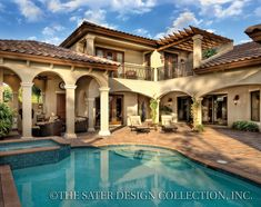 Mediterranean Courtyard House Plans | Photographed homes may have been modified from original plan.