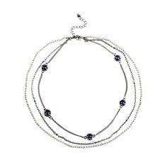 Triple Strand Blue Chivalric Rhinestone Collar Necklace