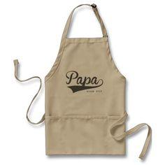 Papa Since Swash Typography Aprons - Dec 2