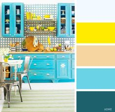Turquoise Blue & Yellow Kitchen - BHG - via House of Turquoise - Home Decoz House Of Turquoise, Turquoise Room, Red Turquoise, Turquoise Cottage, Ugly Kitchen, New Kitchen, Kitchen Decor, Happy Kitchen, Kitchen Ideas